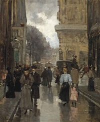 de spuistraat met gezicht naar het plein te s gravenhage: the spuistraat with a view of the plein, the hague by floris arntzenius