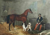 an officer, horse and dog in a stable by charles w. davies