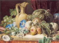 still life with a vase, gourd, fruit and flowers by valentine bartholomew