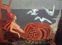 femme, ammonite et mouettes by jacques cortellari