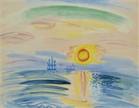marine, soleil couchant by raoul dufy