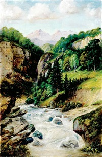 alpine waterfall by johann josef rauch