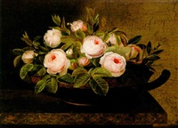 blomsterstilleben med rosor i kylix by hansine kern-eckersberg