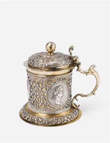 a silver partially gilt tankard