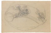 study of a flying female figure and others in a zodiacal band by pietro da cortona