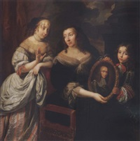 portrait of a young woman, an older woman and young boy holding a portrait of a man in armor by louis ferdinand elle the elder