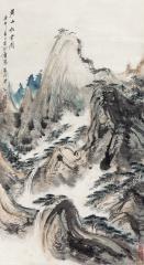 黄山松云图 (landscape) by pei jiatong