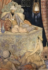 the story telling of queen scheherazade to king shahryar by anton pieck