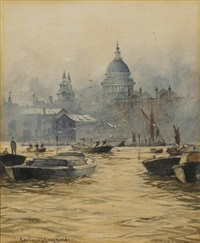 shipping on the thames with st. paul's cathedral behind by roland langmaid