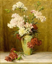 a still life with carnations in a green vase by gustave bienvetu