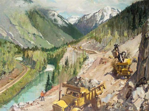 trans canada highway in the rocky mountains british columbia by terence cuneo