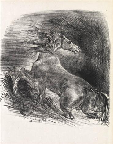 cheval sauvage cheval effrayé sortant de leau by eugène delacroix