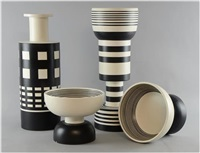 a 'rochetto' vase of cylindrical form a 'calice' waisted form vase and two 'diablo' bowls by ettore sottsass