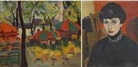 terrasse ensoleillée (+ portrait féminin; verso) by henri le roux