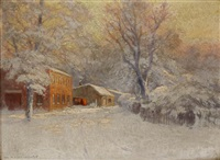 blacksmith in the winter by william henry lippincott