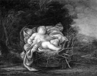 schlafender knabe in einem korb in einer landschaft by gaetano astolfini