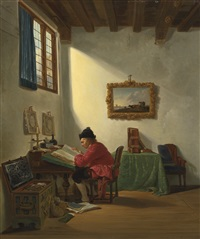 merchant at his desk by abraham van stry the elder