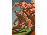 a man standing with his dog by peter howson