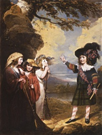 four children play-acting as macbeth and the three witches by john westbrooke chandler
