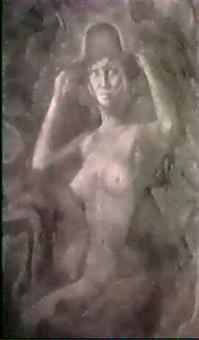 sitzender weiblicher akt mit hut by kurt regschek
