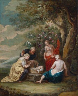 die geburt des erychthonios der wettstreit zwischen apoll und marsyas 2 works by willem van herp the elder
