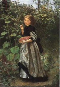 a young girl picking raspberries by frederick smallfield
