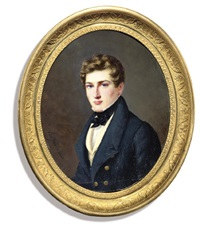 a young gentleman, in blue coat with gilt buttons, pale yellow waistcoat and tied black cravat by john joseph bilfeldt