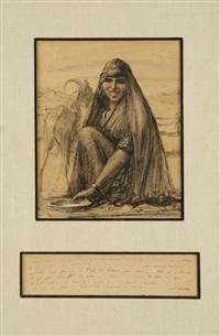 portrait d'une bergère tunisienne aux lèvres scarifiées avec sa chèvre by georges alfred bolle