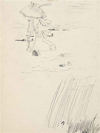 évocation dun crâne rocher jeune fille au cerceau et trois personnages by salvador dalí