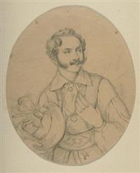 bildnisse - mann und frau in bayerischer tracht (pair) by franz napoleon heigel