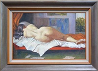 reclining nude in interior by john terence santry