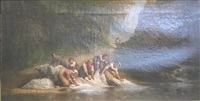 portrayal of women washing linens in a river by léonard saurfelt