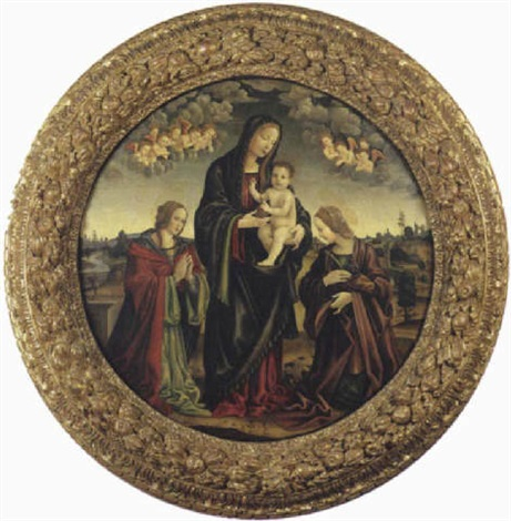 madonna con bambino santa maria maddalena e santa caterina dalessandria by niccolò cartoni zoccolo