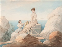 portrait of empress alexandra feodorovna and her daughter grand duchess maria nikolaevna at the seashore by petr fedorovich sokolov