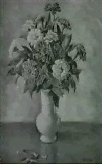 vase mit zinnien by louise merkel-romee