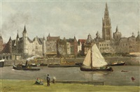 on the waterfrond, antwerpen by johannes abraham mondt
