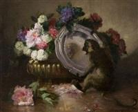 singe jouant avec un plat d'argent près d'une vasque de fleurs by charles monginot