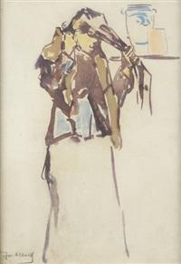 jeune femme lissant ses cheveux by joseph albert