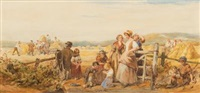 by the harvest field, a rural scene with many figures by john absolon