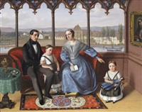 portrait of a family seated in a loggia overlooking a rhenish town by sebastian gutzwiller