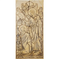 depicting christ and a kneeling figure by j. powell & sons