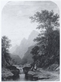 sunset in a mountain valley (near langdale pikes?) with figures by james fahey
