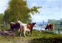 vaches, canards et fermière au bord de l'étang by martinez