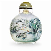 waterside scape snuff bottle by huang san