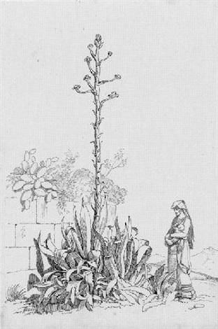 große agave vor einer mauer daneben eine italienerin mit kind by philipp veit