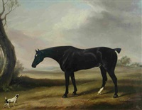 a hunter and a dog in a landscape by william henry davis
