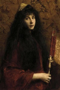 portrait of a jewish girl wearing a velvet cloak and a decorated yarmulke, holding a scroll by cecil van haanen
