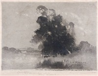 dora creek memorial etching by jesse jewhurst hilder
