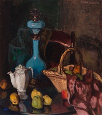 still life with oil lamp, coffeepot and a basket with fruit by johan buning