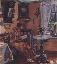 lesende kvinne i interior by severin grande